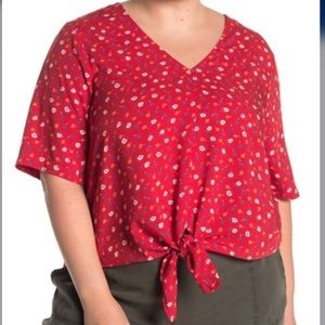 Madewell Prairie Posies Red Tie Front Top size 2X